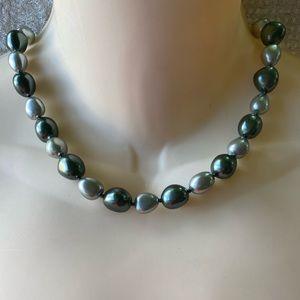 """Vintage Trifari silver & gray bead necklace 17"""""""